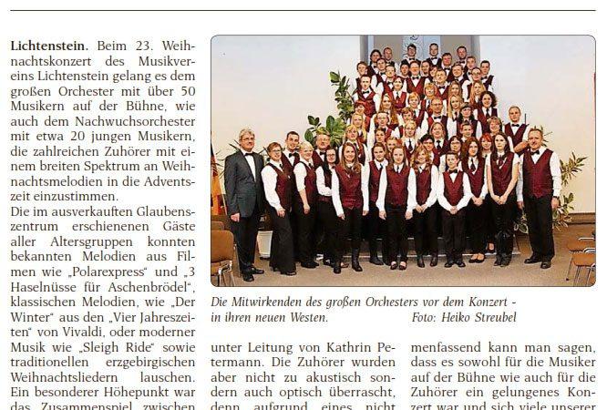 23. Weihnachtskonzert des Lichtensteiner Musikvereins